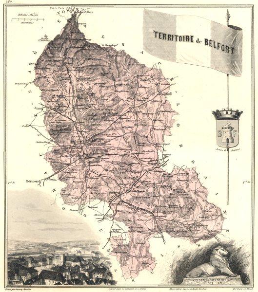 TERRITOIRE DE BELFORT. département. Belfort vignette.Vuillemin 1903 old map