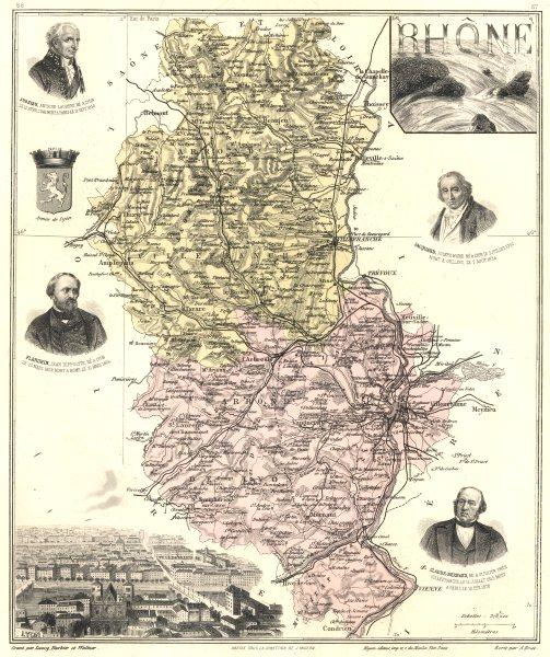 Associate Product RHÔNE. Rhône département.  Lyon vignette. Vuillemin 1903 old antique map chart