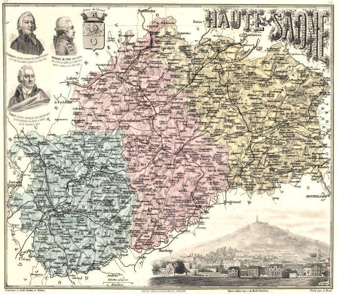 Associate Product HAUTE-SAÔNE. Haute-Saône département.  Vesoul vignette. Vuillemin 1903 old map