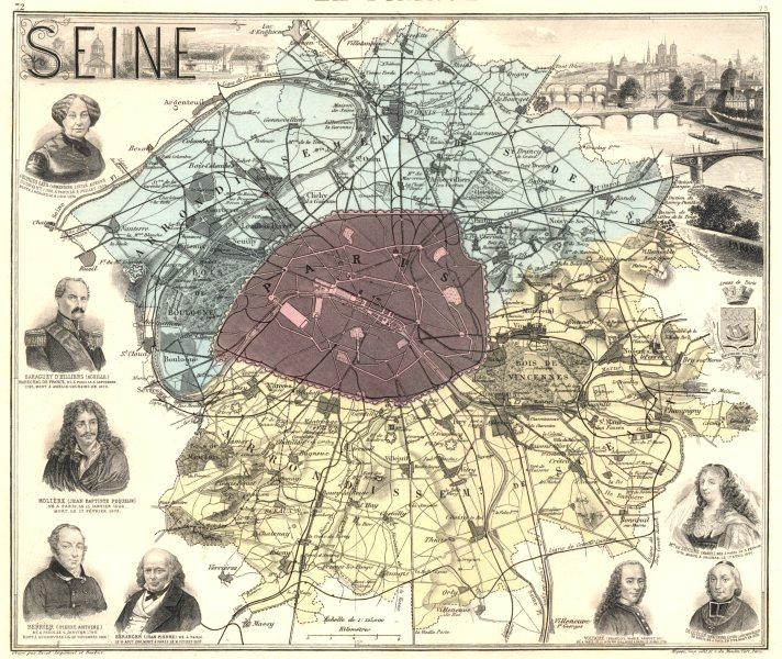 Associate Product SEINE. Seine département. Paris.  Paris vignette. Vuillemin 1903 old map