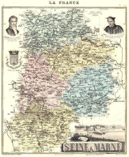 Associate Product SEINE-ET-MARNE. Seine-et-Marne département. Melun vignette.Vuillemin 1903 map