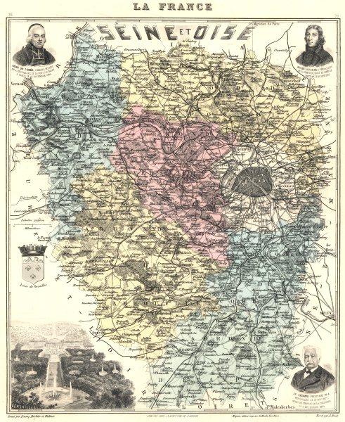 Associate Product SEINE-ET-OISE.Seine-et-Oise département.Versailles vignette.Vuillemin 1903 map