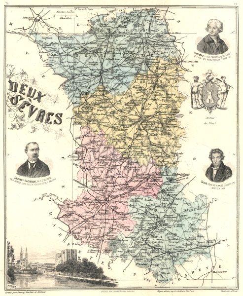 DEUX-SÈVRES. Deux-Sèvres département.  Niort vignette. Vuillemin 1903 old map