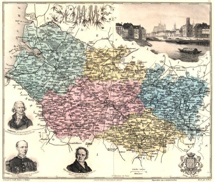 Associate Product SOMME. Somme département.  Amiens vignette. Vuillemin 1903 old antique map