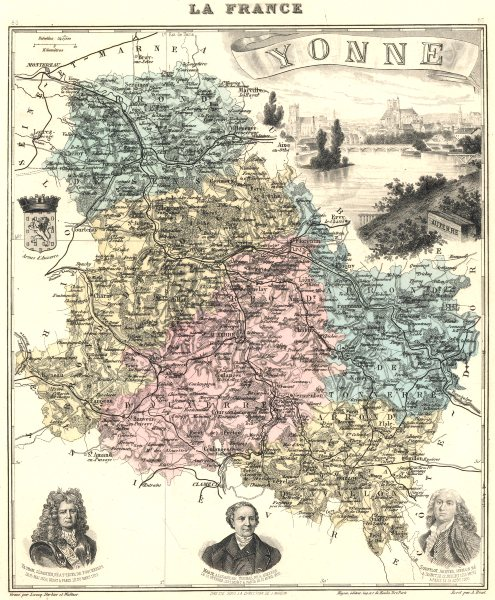 Associate Product YONNE. Yonne département.  Auxerre vignette. Vuillemin 1903 old antique map