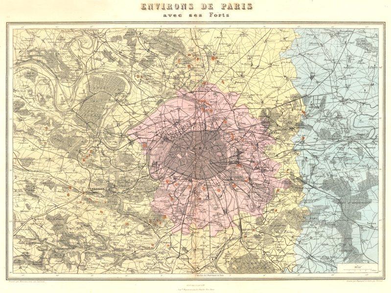 Associate Product PARIS. Environs de Paris avec forts fortifications. Vuillemin. 1903 old map