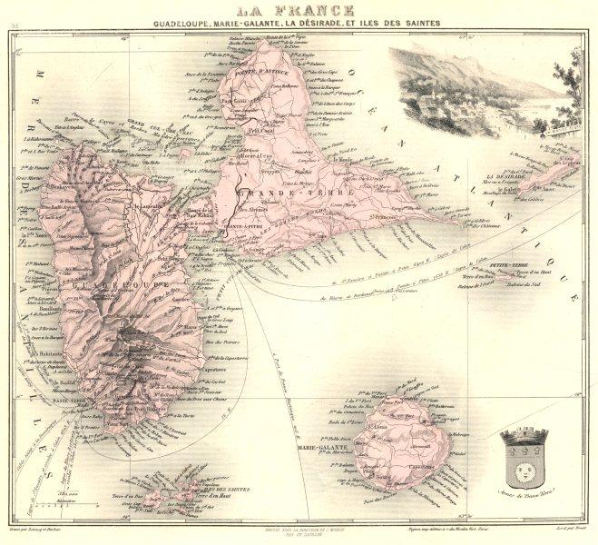 Associate Product GUADELOUPE. Marie-Galante, Désirade, Iles des Saintes.Vuillemin. 1903 old map