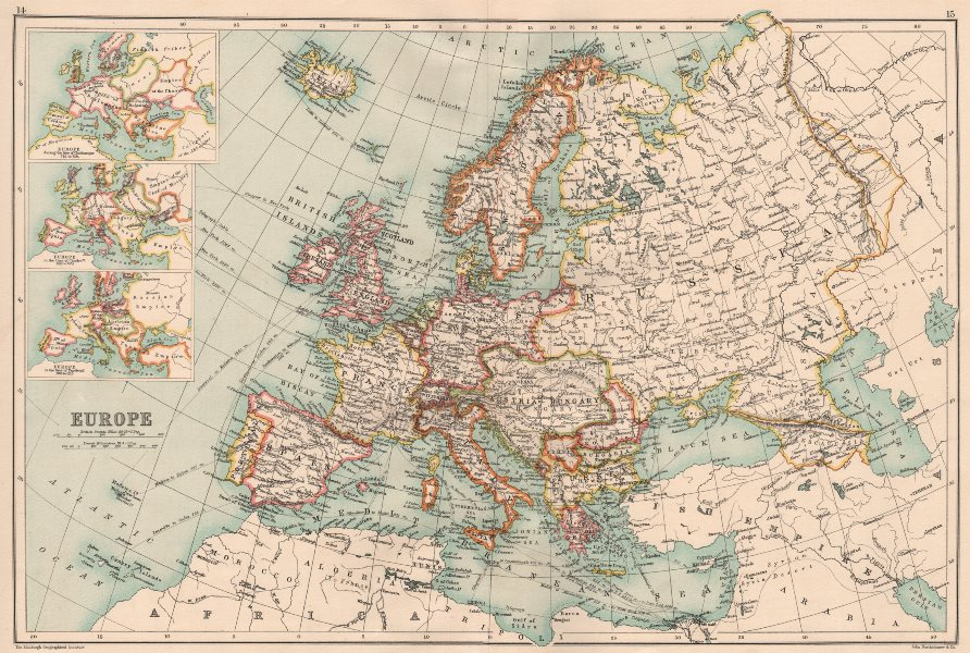 Associate Product EUROPE. Inset in the time of Charlemagne, Charles V (16C) & Napoleon 1891 map