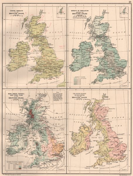 Associate Product BRITISH ISLES.Produce Population Rainfall Tides River Basins Watersheds 1891 map
