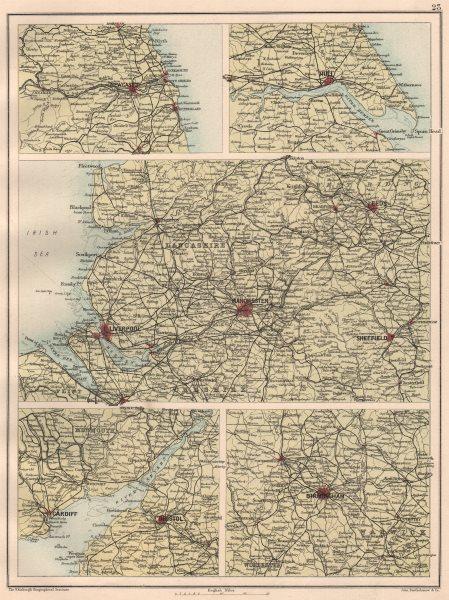Associate Product ENGLISH CITIES. Newcastle-upon-Tyne Hull Manchester Bristol Birmingham 1891 map