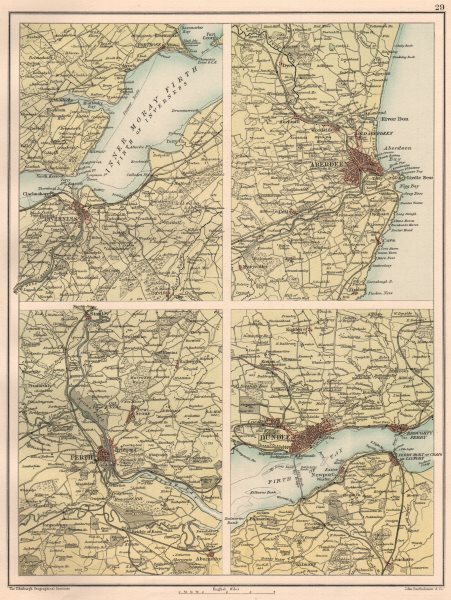 Associate Product SCOTTISH CITIES. Inverness Aberdeen Perth Dundee environs. BARTHOLOMEW 1891 map