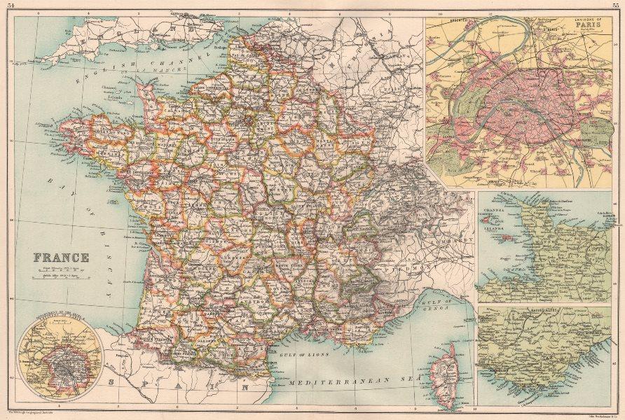 Associate Product FRANCE.with departements.Inset Paris Environs Côte d'Azur.BARTHOLOMEW 1891 map