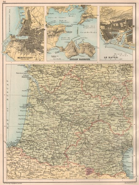Associate Product FRANCE SOUTH WEST & FRENCH PORTS.Marseilles Toulon Le Havre.BARTHOLOMEW 1891 map