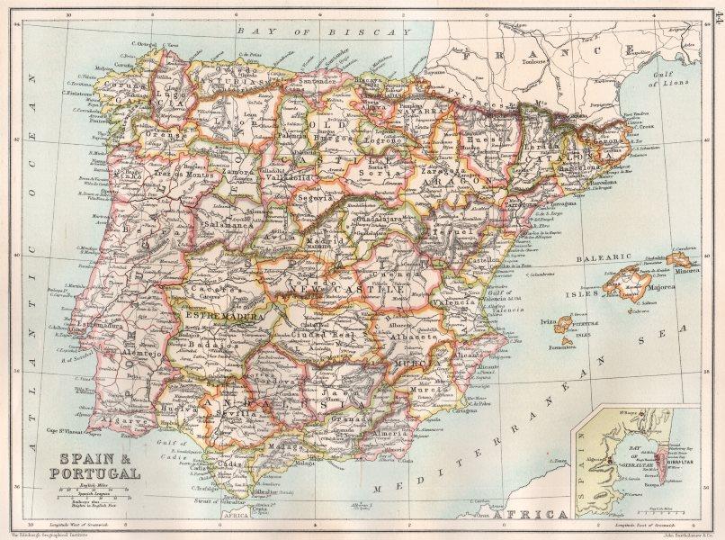 Associate Product IBERIA. Spain provinces & Portugal; Inset Gibraltar. BARTHOLOMEW 1891 old map