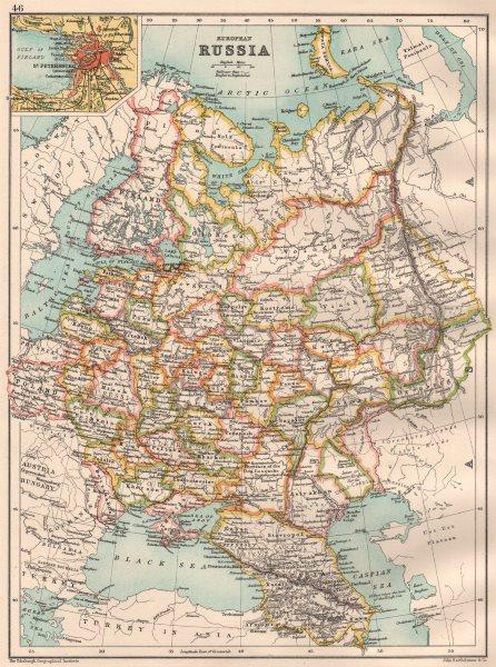 Associate Product EUROPEAN RUSSIA.Inc.Caucasia Finland Baltics Poland.Inset St.Petersburg 1891 map