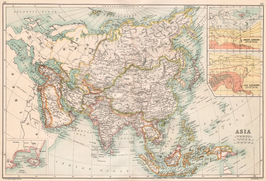 Associate Product ASIA. Inset Aden; Isotherms. Persia (Iran) Siam Japan Arabia Siberia &c 1891 map