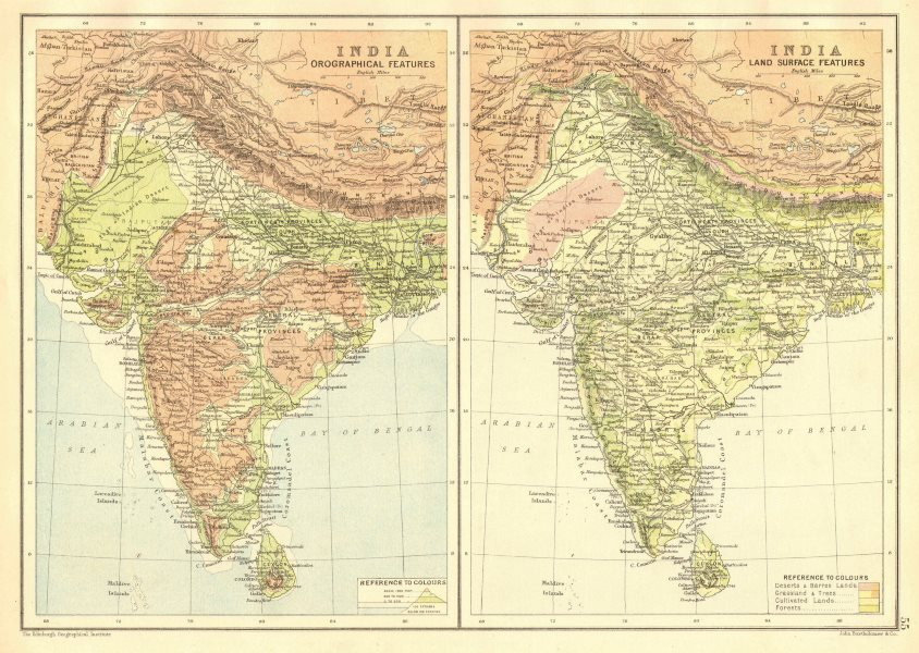 Associate Product INDIA. Orographical/relief & Land surface features. BARTHOLOMEW 1891 old map