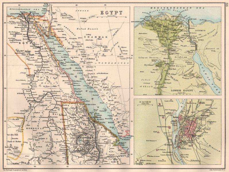 Associate Product LOWER EGYPT & RED SEA. Nile Delta. Arabian coast Cairo. BARTHOLOMEW 1891 map