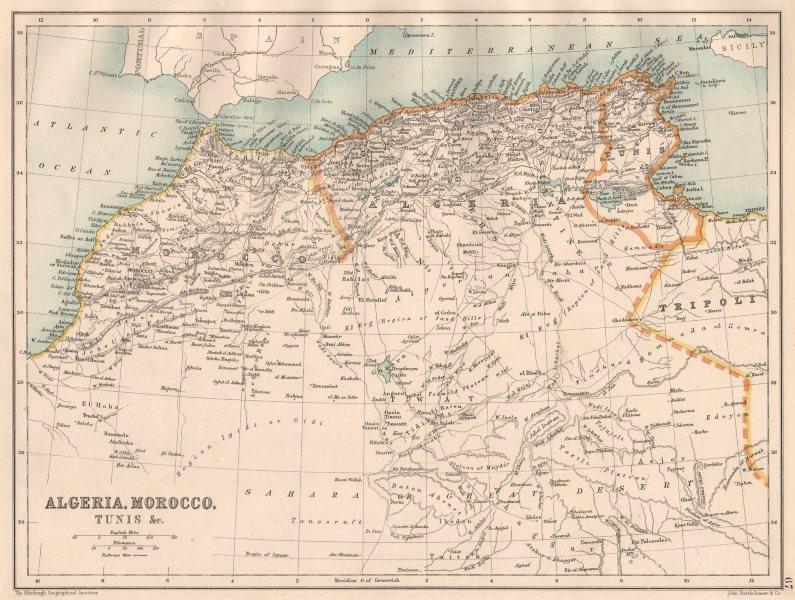Associate Product NORTH AFRICA. Algeria Morocco Tunis Tunisia Maghreb. BARTHOLOMEW 1891 old map