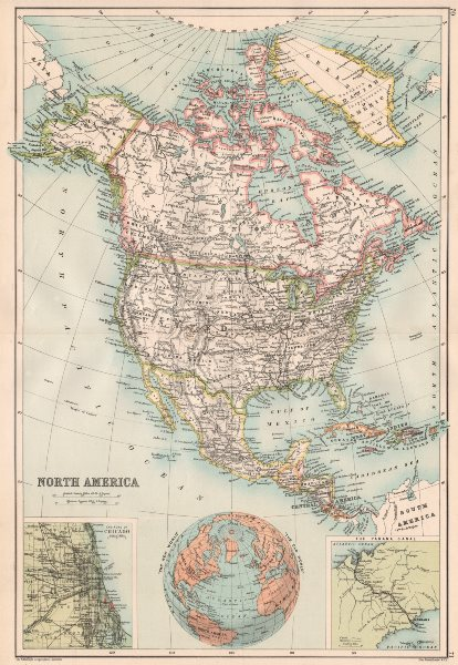 Associate Product NORTH AMERICA. Inset Chicago & the Panama Canal. BARTHOLOMEW 1891 old map