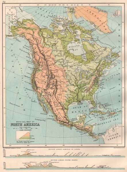 Details about NORTH AMERICA PHYSICAL. Sections across the United States &  Canada 1891 map