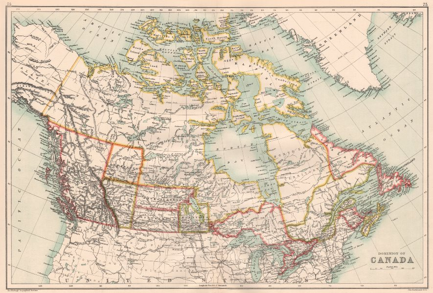 DOMINION OF CANADA. Shows provinces. Athabasca/Assiniboia 1891 old antique map