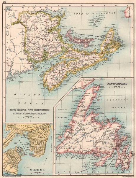 Associate Product ATLANTIC CANADA. Nova Scotia New Brunswick PE Newfoundland; St. John 1891 map