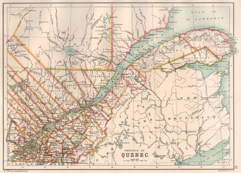 Associate Product QUEBEC QUÉBEC. Showing counties/territories. Canada. BARTHOLOMEW 1891 old map