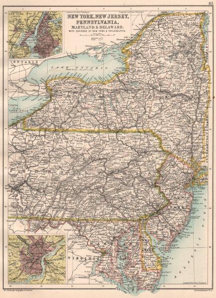 Associate Product MID ATLANTIC STATES. NY NJ Pennsylvania, MD Delaware. NYC Philadelphia 1891 map