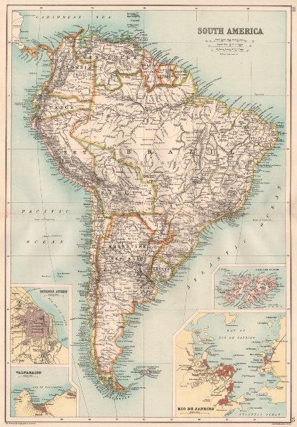 Associate Product SOUTH AMERICA. Inset Buenos Aires Valparaiso Falklands Rio de Janeiro 1891 map