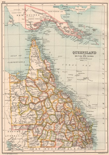 Associate Product QUEENSLAND & BRITISH NEW GUINEA. State map with counties. Papua. Australia 1891