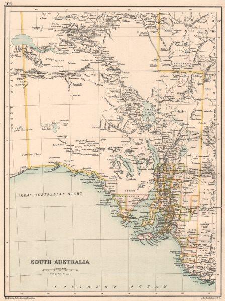 SOUTH AUSTRALIA. State map showing counties. Australia. BARTHOLOMEW 1891