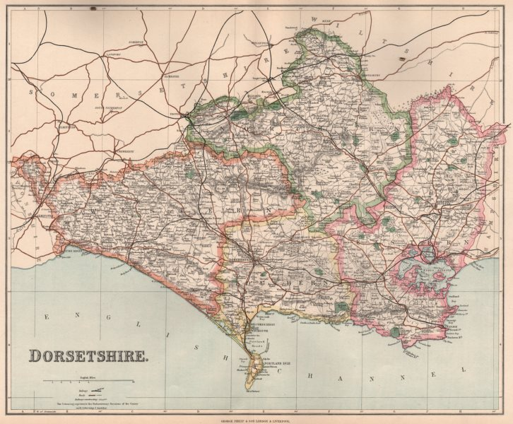 Associate Product DORSETSHIRE. County map. Divisions & parliamentary boroughs. PHILIP 1902