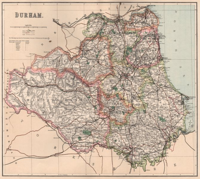 Associate Product DURHAM. County map showing divisions & parliamentary boroughs. PHILIP 1902