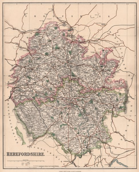 Associate Product HEREFORDSHIRE. County map. Leominster & Ross constituencies. PHILIP 1902
