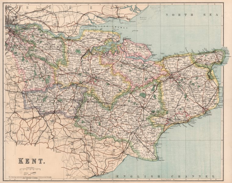 Associate Product KENT. County map showing divisions & parliamentary boroughs. PHILIP 1902