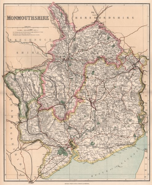 Associate Product MONMOUTHSHIRE. County map. Divisions & parliamentary boroughs. PHILIP 1902