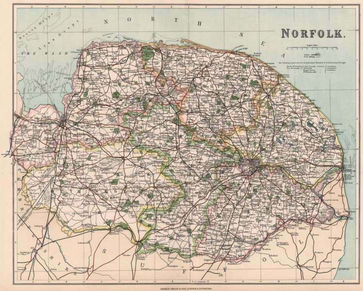 Associate Product NORFOLK. County map showing divisions & parliamentary boroughs. PHILIP 1902