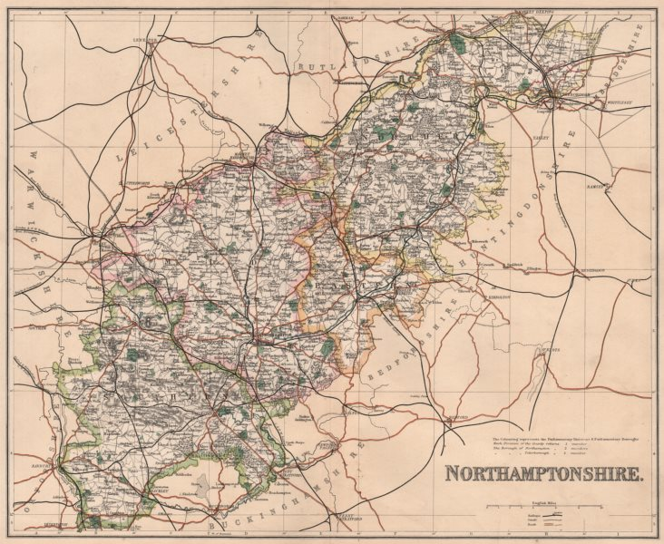 Associate Product NORTHAMPTONSHIRE. County map. Divisions & parliamentary boroughs. PHILIP 1902