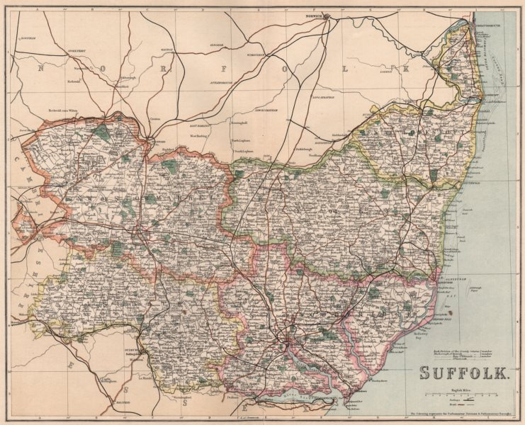 Associate Product SUFFOLK. County map showing divisions & parliamentary boroughs. PHILIP 1902