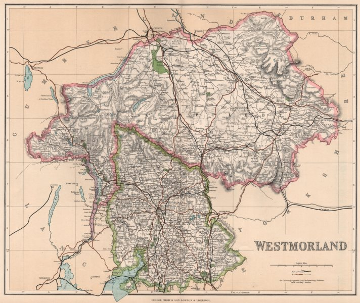 Associate Product WESTMORELAND. County map. Appleby & Kendal constituencies. PHILIP 1902 old