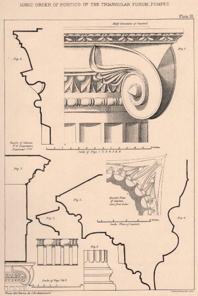 Associate Product ARCHITECTURE. Ionic order. Portico of the triangular forum, Pompeii 1902 print