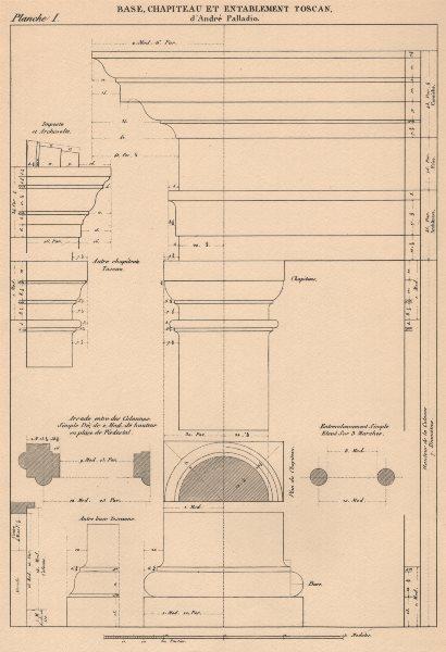 TUSCAN ARCHITECTURE. Base, Capital and Entablature.  (Palladio c1518-1580)  1931