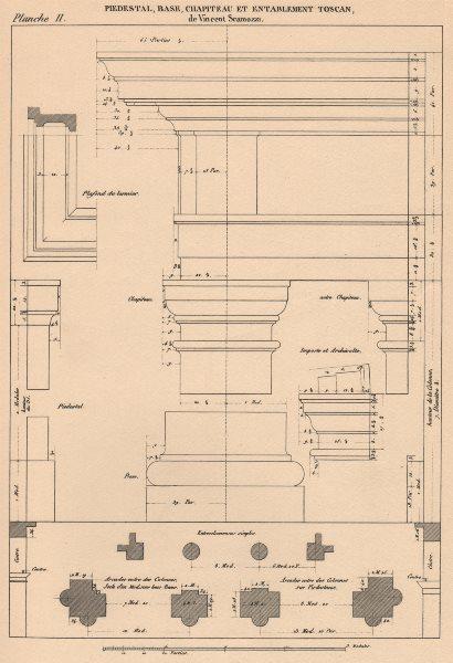 Associate Product TUSCAN ARCHITECTURE.Pedestal Base Capital Entablature.(Scamozzi 1552-1616) 1931
