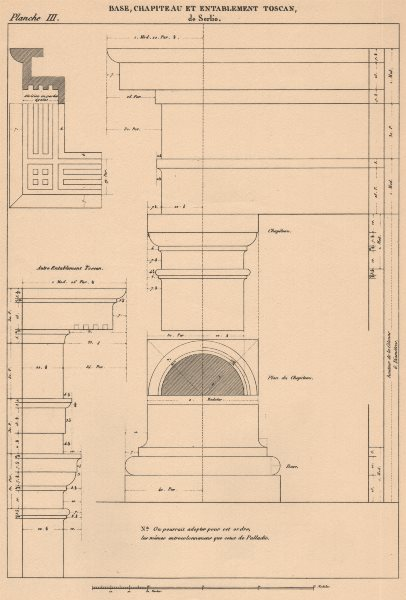 Associate Product TUSCAN ARCHITECTURE. Base, Capital and Entablature.  (Serlio c1475-1555)  1931