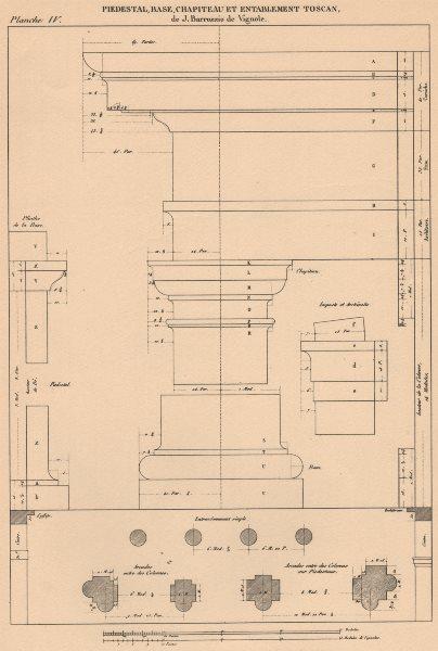 Associate Product TUSCAN ARCHITECTURE.Pedestal Base Capital Entablature.(Vignola 1507-1573) 1931