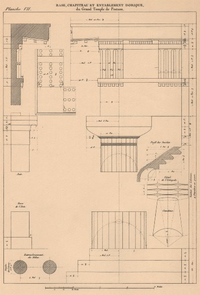 Associate Product DORIC ARCHITECTURE. Great Temple, Paestum. Base, Capital and Entablature 1931