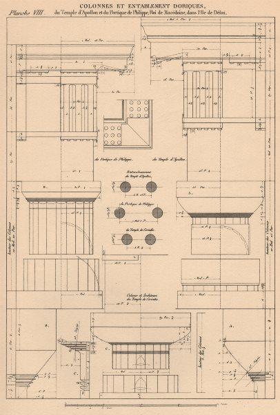 Associate Product DORIC ARCHITECTURE.Columns Entablature Temples Apollo/Corinth.Portico Delos 1931
