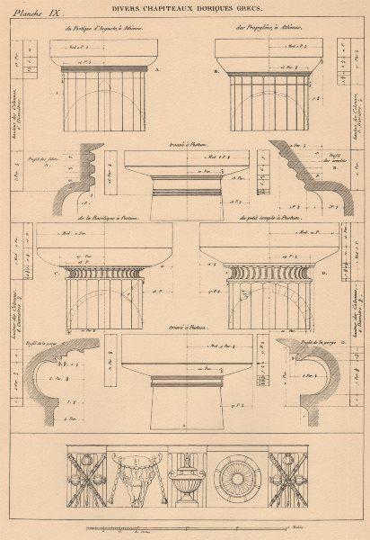 Associate Product DORIC CAPITALS. Portico Augustus Propylea, Athens. Basilica Temple, Paestum 1931