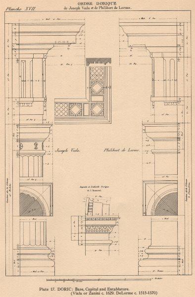 Associate Product DORIC ARCHITECTURE.Base Capital and Entablature(Viala or Zanini.DeLorme) 1931